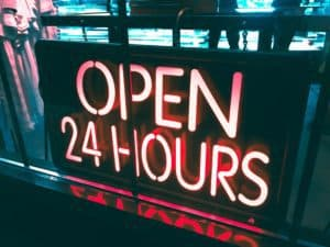 Open 24 Hours Neon Sign